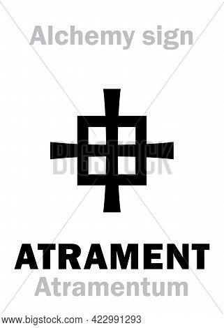 Alchemy Alphabet: Atrament (atramentum), Ink Stone, Iron Gall Ink (ferrogalica), Shoe Ink -- Deep Bl