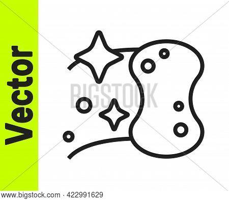 Black Line Sponge Icon Isolated On White Background. Wisp Of Bast For Washing Dishes. Cleaning Servi