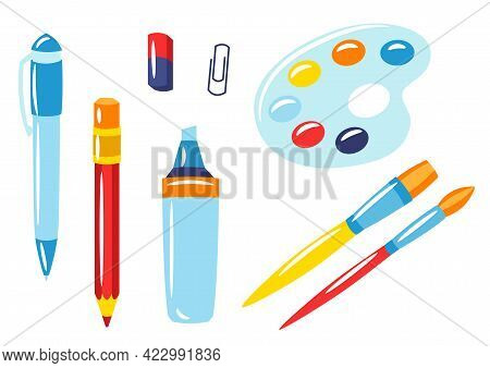 School And Education Items. Set Of Supplies And Stationery.