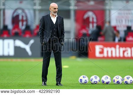 Milano, Italy. 16 May  2021. Stefano Pioli Of Ac Milan  During The Serie A Match Between Ac Milan An