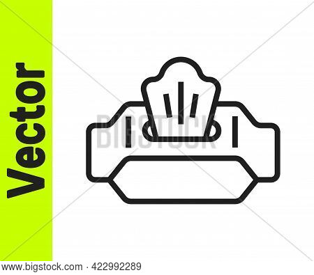 Black Line Wet Wipe Pack Icon Isolated On White Background. Vector