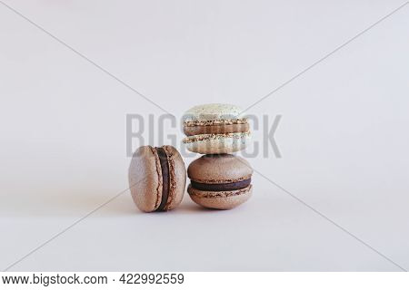 Tasty French Macarons On A Pastel Background.  Place For Text.