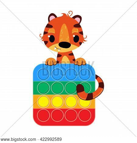 A Cute Cartoon Tiger Is Holding A Pop It Antistress Toy. Anti-stress Game. Popular Modern Toy On A W
