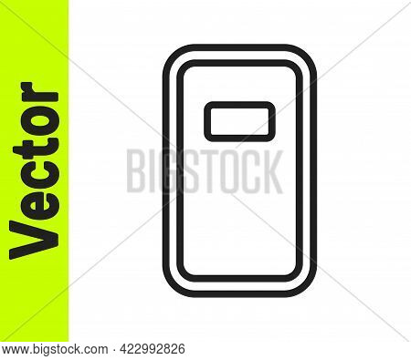 Black Line Police Assault Shield Icon Isolated On White Background. Vector