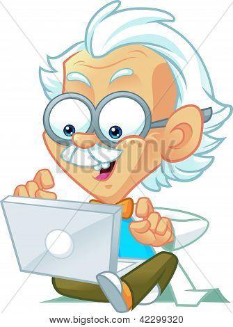 Genius Professor Typing on Computer