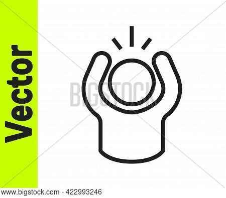 Black Line Anger Icon Isolated On White Background. Anger, Rage, Screaming Concept. Vector