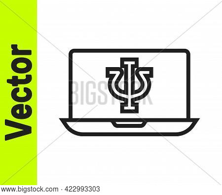 Black Line Online Psychological Counseling Distance Icon Isolated On White Background. Psychotherapy