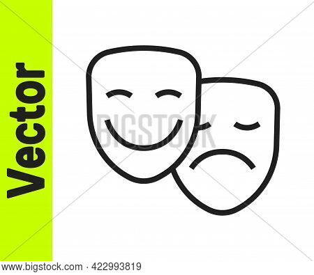 Black Line Comedy And Tragedy Theatrical Masks Icon Isolated On White Background. Vector