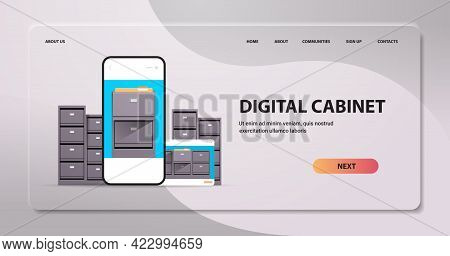 Electronic File Archives Digital Cabinet On Smartphone Screen Organization Service Concept Horizonta