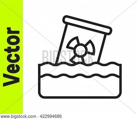 Black Line Radioactive Waste In Barrel Icon Isolated On White Background. Toxic Waste Contamination