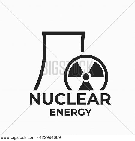 Nuclear Energy Logo Icon. Nuclear Power Plant. Power Industry Symbol