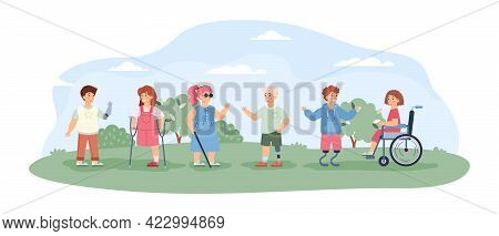 Disabled Kids Walking And Socialising, Cartoon Vector Illustration Isolated.