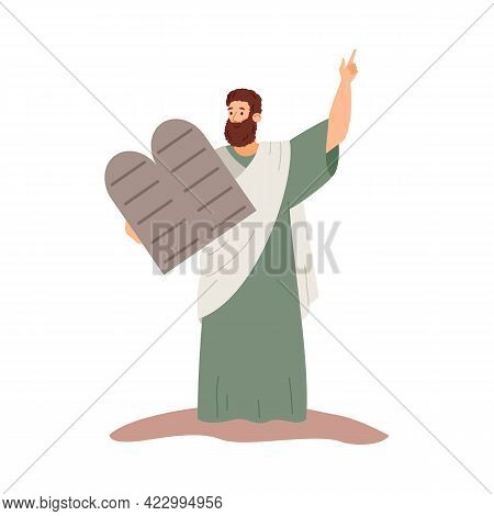 Moses Holding Stone With Ten Commandments, Flat Vector Illustration Isolated.