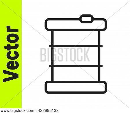 Black Line Radioactive Waste In Barrel Icon Isolated On White Background. Toxic Refuse Keg. Radioact
