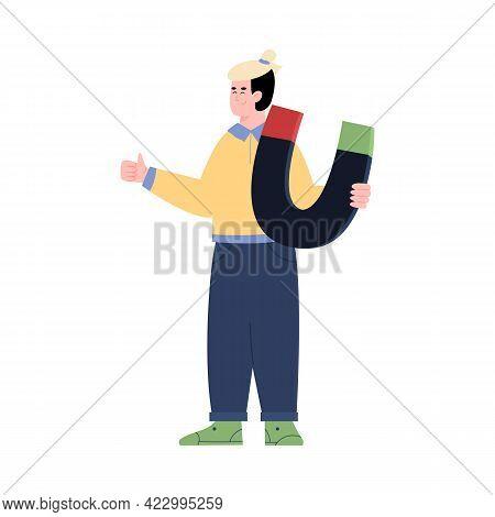Man Holding Huge Magnet, Leads Generation Cartoon Vector Illustration Isolated.