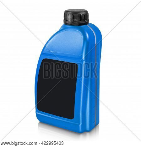 Plastic Canister Isolated On White Background. Blue Canister With A Black Label And A Black Cap. Moc