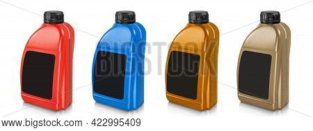 Plastic Canister Set Isolated On White Background. Canister In Red, Blue, Brown And Gold With Black