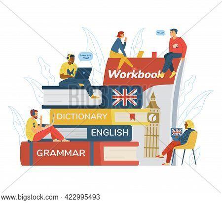 English Language Distance Online Learning Banner, Flat Vector Illustration.