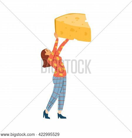 Woman Character Holding Huge Piece Of Cheese Flat Vector Illustration Isolated.