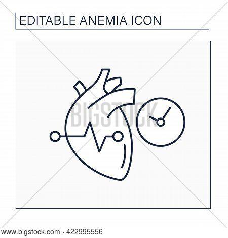 Anemia Line Icon. Disease Symptoms. Irregular Heartbeats. Abnormal Heart Rhythm. Health Protection C