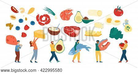 Set Of Tiny People Following A Keto Diet With Healthy Food A Vector Illustrations