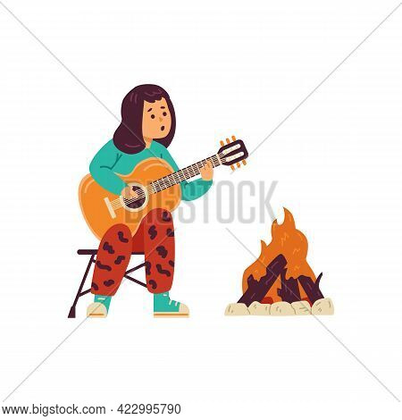 Child Playing Guitar Near Bonfire At Campsite, Flat Vector Illustration Isolated.