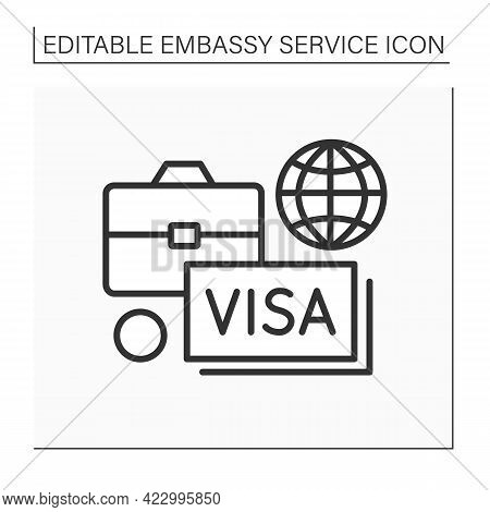 Diplomatic Assignment Line Icon. Government In Another State. Help Citizens With Visas And Temporary