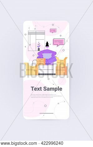 Woman Opening Cardboard Parcel Box Unboxing Mail Delivery Ordering Online Via Internet Concept