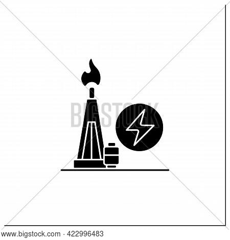 Gas Power Glyph Icon. Power Station. Thermal Stations Burn Natural Gas. Electricity Generation Conce