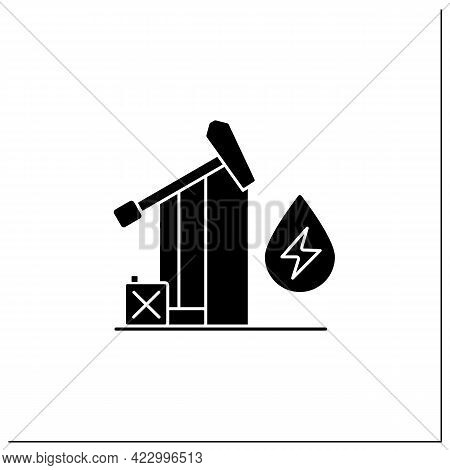 Oil Power Glyph Icon. Fossil Fuel Power Station. Mining Coal, Fuel Oil, Natural Gas.electricity Gene