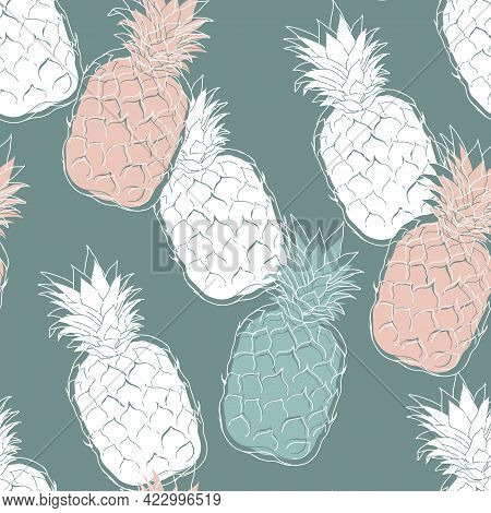 Pineapple Summer Seamless Pattern Design With Stylish Fruits On Greenish Background. Jungle Texture