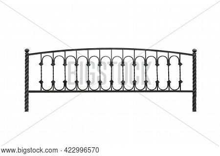 Forged Decorative Barrier, Fencing. Isolated Over White Background.