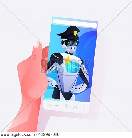 Human Hand Using Smartphone With Police Robot On Screen Patrol Cop In Uniform Artificial Intelligenc