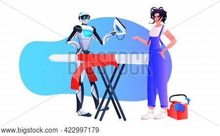 Housewife With Robot Ironing Clothes Robotic Character With Woman Doing Housework Artificial Intelli