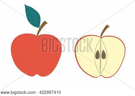 A Whole Apple And A Piece Of Apple On An Isolated Background. Flat Vector Illustration. The Fruit.