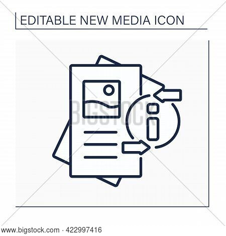 Flyer Line Icon. Paper Advertisement.draw Attention To Event, Service, Product Or Idea. Pamphlet.new