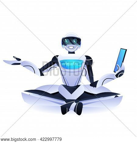 Modern Robot Sitting Lotus Pose Robotic Character Using Tablet Pc Artificial Intelligence Technology