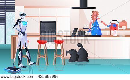 Robotic Janitor With Woman Cleaner Robot Vs Human Working Together Cleaning Service Artificial Intel
