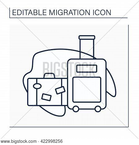Baggage Line Icon. Cargo. Things, Other Material Values. Packed For Departure By Transport. Importan