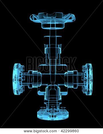 Piping (3D x-ray blue transparent isolated on black) poster