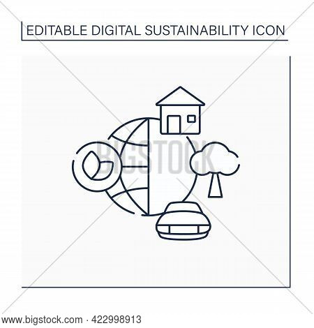 Environment Line Icon. World Around. Physical And Chemical Forces.biotic, Abiotic Things. House, Car
