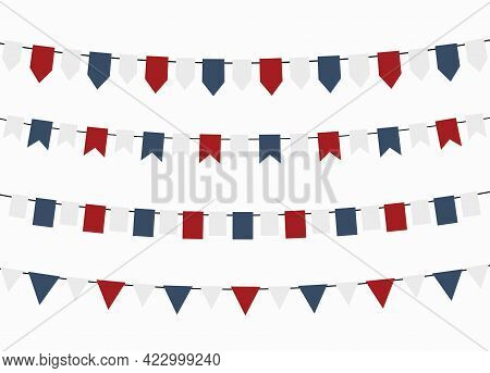 Bunting Flags For Independence Day, Colors Of Usa.