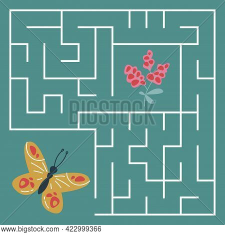 Mini Game For Children. A Butterfly Flies To The Berries Through The Maze On A Green Background. A S