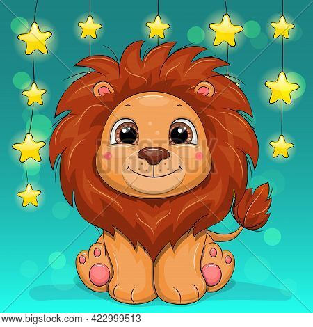 Cute Cartoon Lion With Star Light Garland Behind. Vector Illustration Of An Animal On A Background O