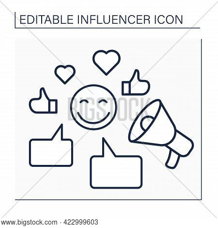 Influencer Line Icon.writing Posts On Web Sites.communication With Followers. Influence On Audiences