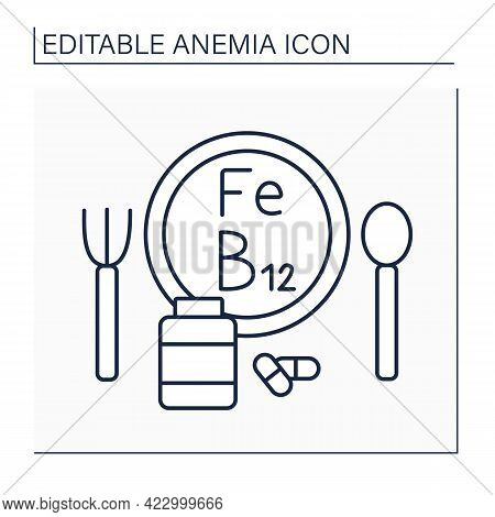 Anemia Prevention Line Icon. Iron-rich Diet And Vitamin B12. Health Protection. Healthcare Concept.