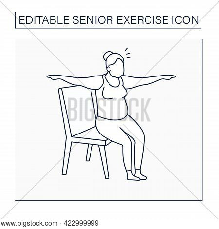 Chair Yoga Line Icon. Old Woman Sitting On Chair. Yoga Exercises. Sport Life. Prevention Diseases. S
