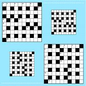 Real size crossword puzzle grids 10x10 squares with corresponding answer grids poster