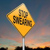 Illustration depicting a sign with a no swearing concept. poster