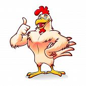 Cartoon chicken a strong and gallant was smiling thumbs-up poster